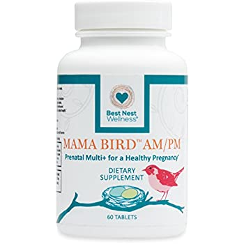 Mama Bird AM/PM Prenatal Multivitamin | Methylfolate (Folic Acid), Methylcobalamin (B12), 100% Natural Whole Food Organic Herbal Blend, Vegan, Twice Daily Prenatal Vitamin, 60 Count