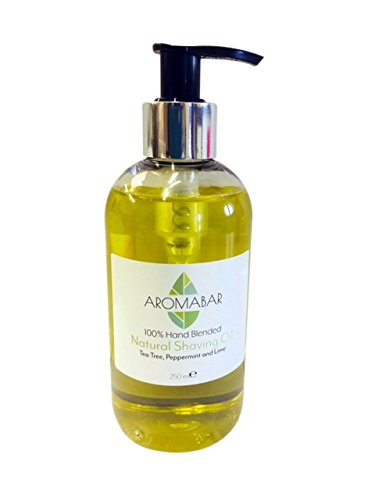 Natural Shaving Oil Tea Tree Peppermint & Lime 250ml 100% Pure with Pump Dispenser included Use as a Pre Shave oil or Post Shave Moisturiser Aromabar
