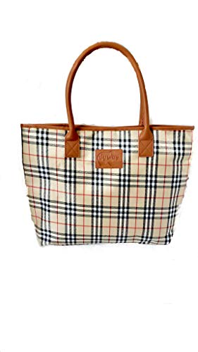 Mama Bear Plaid Beige Handbag - Large Tote Bag for Women, Mom - Unique Fun Gifts for Mom, Mother, Wife - Many Varieties to Choose From!