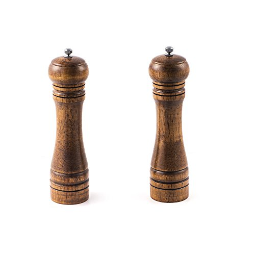 Salt and Pepper Grinder – 2 pcs for Salt&Pepper Grinder, Ceramic Mill with Strong Adjustable Solid Wooden Grinder (8 inch) by TOPODO