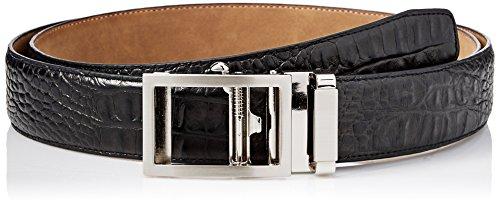 Greg Norman Men's Croco Grain Adjustable Comfort Fit Ratchet Belt, black, One - Leather Croco Belt