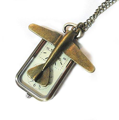 Let's Go Travel Pocket Watch Necklace - Retro Bronze Travel Dual Time Pocketwatch Charm - Plane Pendant Pocketwatch