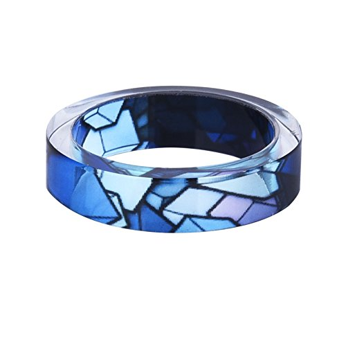New Arrival Handmade Punk Style Gradual Blue Irregular Pattern Transparent Resin/Plastic Women/Men's Charm Ring (19mm/US#9) (19mm Ring)