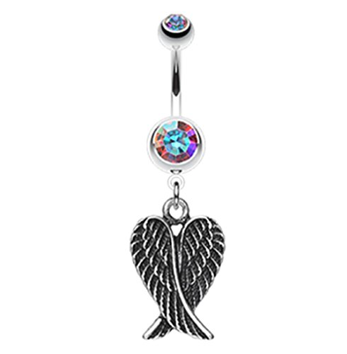 Freedom Fashion Angel Wing Heart 316L Surgical Steel Belly Button Ring (Sold by Piece) (14GA, 3/8