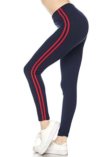 PALI USA Premium Buttery Soft Solid Colors 2-Sripes Ankle Leggings (Navy/Red, Plus Size(12-24))