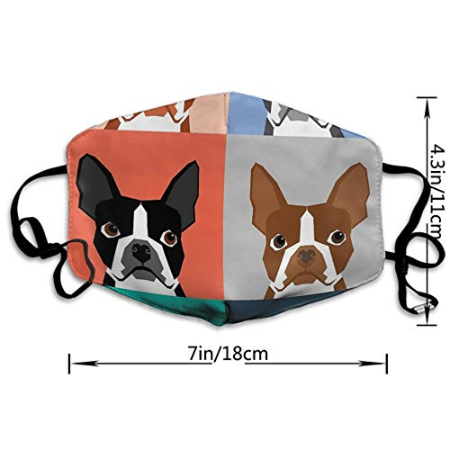 CIGOCI Fashion Earloop Face Masks, Anti-Dust Pollenm Smog Face and Nose Cover with Adjustable Elastic Strap, Boston Terrier Dog Cartoon Medical Mask