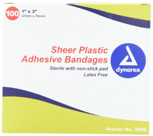 Dynarex Adhesive Sheer Strips Bandage, Sterile, 1 Inches X 3 Inches, 100 Count (Pack of 3) ()