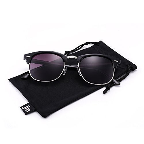 Gris pour Monture UV400 Femme Noir Demi Homme de Brillant cerclées Protection Lunettes Classique Gradient Demi Soleil wRqRC6f