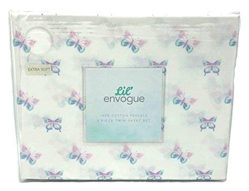 Lil' Envogue Pastel Butterflies Twin Size Cotton Sheet Set