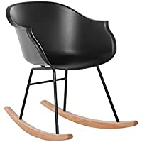 Modern Scandinavan Rocking Chair Natural Wood and Plastic Black Harmony