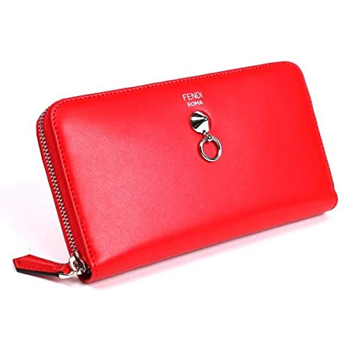 Fendi By The Way Red Leather Continental Full Zip Stud Wallet 8M0299-F0ADR ()