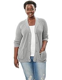 Women's Plus Size Long Sleeve Button-Front Cardigan