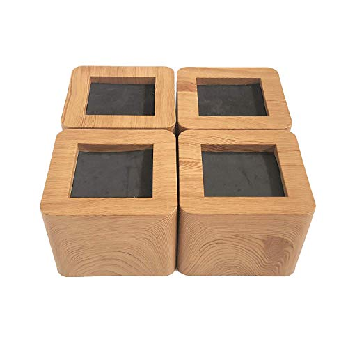 3 inch, 4 Pack, Bed and Furniture Risers, Heavy Duty Bed Lifts, Original Wooden Color (ABS), Couch, Desk, Tables or Chairs Risers, More Realistic Woody Feel, 1000kg/2200lbs