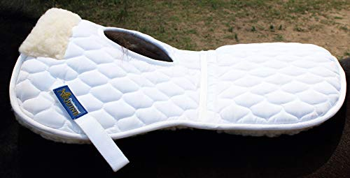(Professional Equine Horse English Quilted Saddle Wither Relief Half Pad Fur 12228WH)
