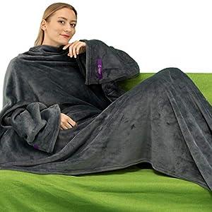 Winthome Couverture Portable Snuggle avec Manches. Doux et Chaleureux pour Les Amateurs de canapés. Deux Tailles, avec…