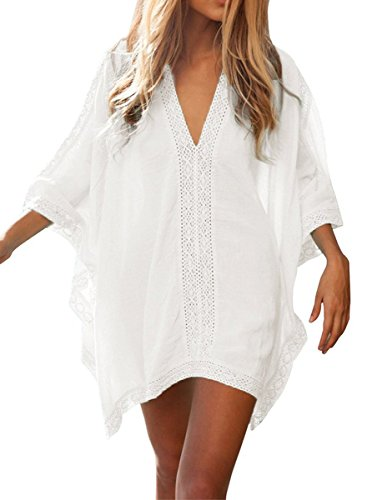 Lonatings Women Plus Size Swimsuit Cover Up Solid Beach Dress (White)