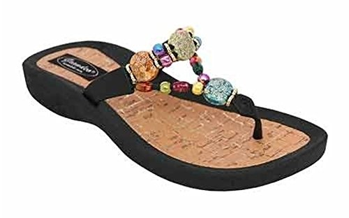 Grandco WomenS Marble Cork Thong Sandal, Color: Black, Size: 11 (24770g-Ld-Bk-1 (Black 11 Sandals Thong)