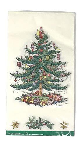 - Spode Christmas Tree Paper Guest Towels / Dinner Napkins, Pkg of 16, Green Border