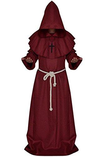 Wonderoy Men's Friar Medieval Monk Priest Robe Pastor Halloween Hooded Cape Costume Cloak M -