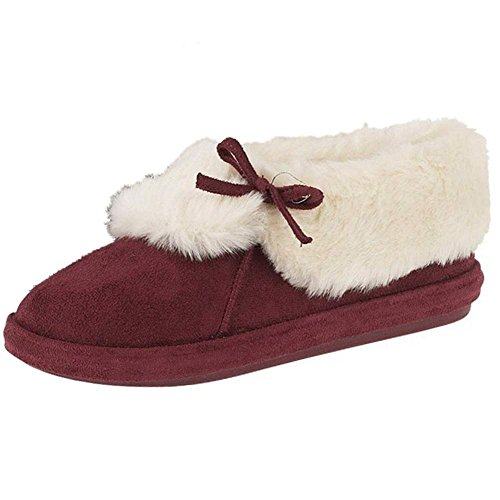 Ladies Faux Suede Furry Ankle Bootee Slipper Womens Slippers Sizes 3-8 Maroon