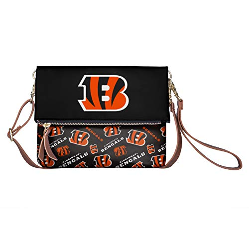 FOCO NFL Cincinnati Bengals Womens Printed Collection Foldover Tote Bagprinted Collection Foldover Tote Bag, Team Color, One Size