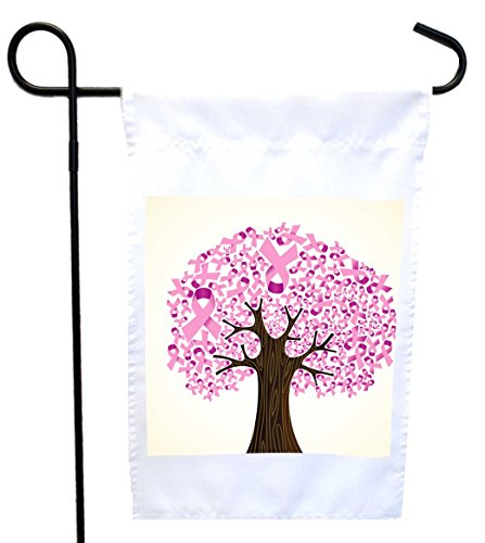 Rikki Knight Breast cancer ribbon tree Design Garden Flag 12 x 18 flag size with 11 x 11 inch image with Sturdy black wrought iron flag pole (Proudly Printed in the USA) Review