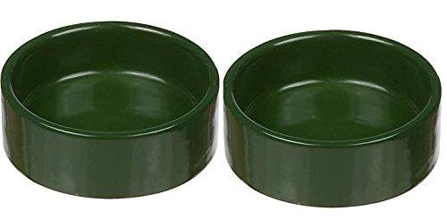 Moss Green Small Ceramic Terrarium Dishes, 3'' Diameter X 1'' High (2 Pack) by Moss