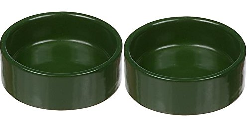 Moss Green Small Ceramic Terrarium Dishes, 3'' Diameter X 1'' High (2 Pack) by Moss