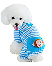 Puppy Clothes Dog Coat Jumpsuit Comfy Dog Pajamas Dog Shirt Stripes Pet Dog Clothes
