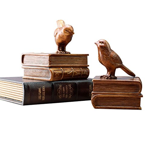 Ren Chang Jia Shi Pin Firm Ornaments desktop bookshelf home bird decoration living room porch retro desk bookshelf decoration resin sculpture art decoration (Color : Gold, Size : L) by Ren Chang Jia Shi Pin Firm