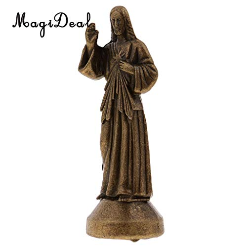 Kiartten Top-100 - Mini Jesus Holy Religious Figurine Magnetic Decoration Statue 5Cm Silver 1 Pcs - Metal Hand Figurine - Knight Figurines Metal - Metal Chicken Figurines ()