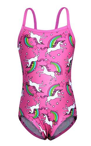 Cotrio Girls Unicorn One-Piece Swimsuit Toddler Kids Rainbow Stars Swimwear Tankini Swimming Bathing Suit Beachwear Bikini Size 12 (8-9 Years, Pink)]()