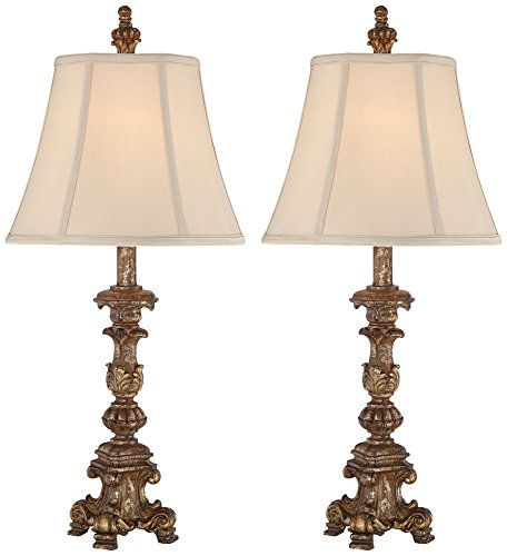Set of 2 Elize Bronze Finish Table Lamps Buffet Finish