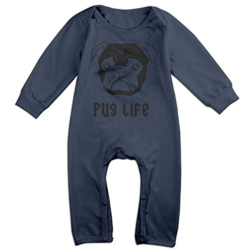 [Pug Life Newborn Baby Long Sleeves Climbing Clothes Boy's & Girl's Triangle Bodysuit Size 18 Months Navy Fashion] (Infant Toto Dog Costume)
