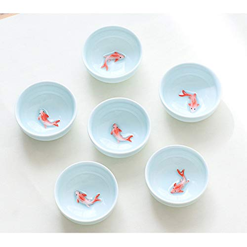- HUYHUY 6Pcs Celadon Golden Fish China Tea Set,Kung Fu Tea Cup Set Crackle Glaze Travel Tea Bowl Chinese Porcelain Teacup Set