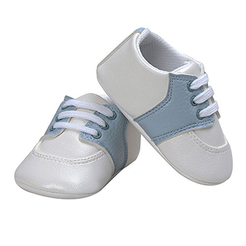 Pictures of Kuner Newborn Baby Boys Girls Pu Leather White+sky Blue 4