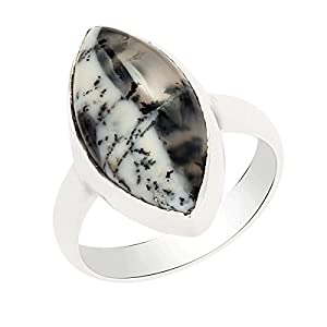 Marquise Shape Dendritic Opal Bezel Set Gemstone 925 Sterling Silver Handmade Solitaire Ring