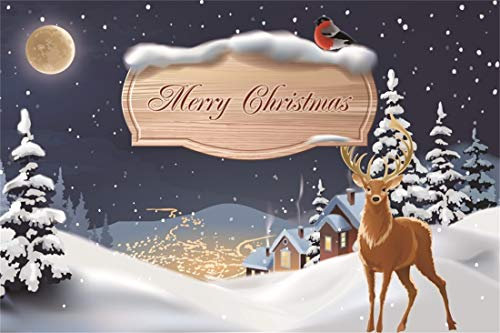 Yeele Christmas Photography Background 7x5ft Reindeer Heavy Snow Houses Light Window Snowing Pine Full Moon Wooden Plank Words Merry Christmas Xmas Decoration Photo Backdrops Pictures Photoshoot ()