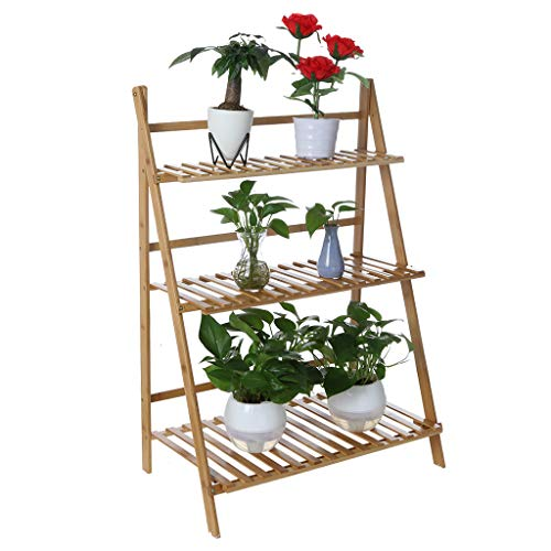 - Sturdy Bamboo Plant Stand Flower Pot Rack 3 Tier, Plant Corner Stand Shelf Planters Display Holder Display Rack Indoor/Outdoor - 24.8x27.96x9.84inch - Amiley【Ship from USA】 (As Shown)
