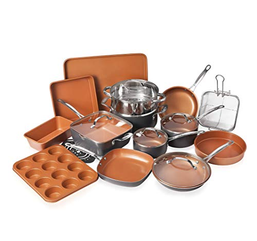 Gotham Steel 20 Piece Pots & Pans Set Complete Kitchen Cookware + Bakeware Set | Nonstick Ceramic Copper Coating…