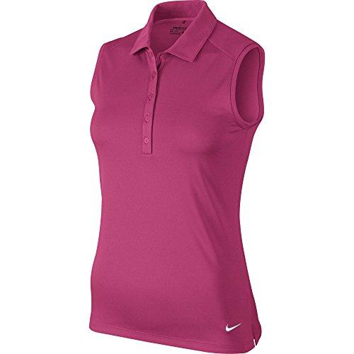 NIKE Women's Dry Sleeveless Victory Polo, Vivid Pink/White, Large