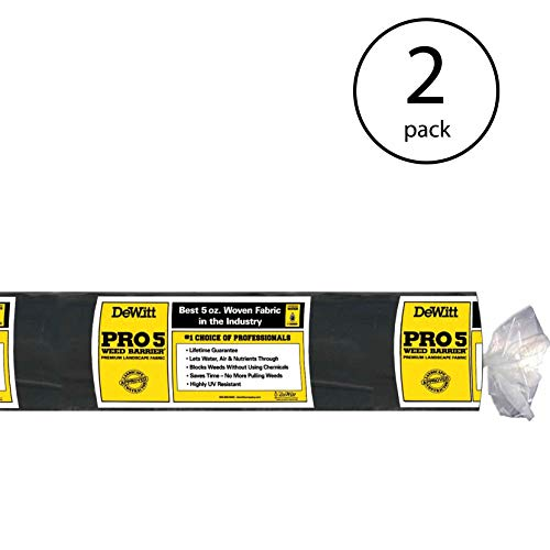 Dewitt P5 5 x 250 Foot 5 Ounce Commercial Landscape Weed Barrier Fabric (2 Pack) (Dewitt Pro 5 Weed Barrier Landscape Fabric)