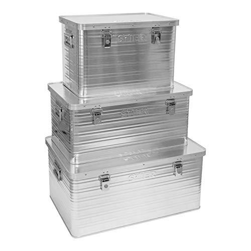 STIER Alubox-Set, 30L + 65L, Transportkiste, stapelbar, Staub- und spritzwasserresistent, 2 Klapphandgriffe