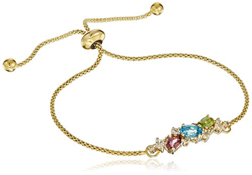 Yellow Gold Wheat Bracelets (10k Yellow Gold Oval Shaped Swiss Blue Topaz, Peridot, Pink Tourmaline with White Topaz Accent Semi Precious Beaded Bolo On Wheat Chain Bracelet,)