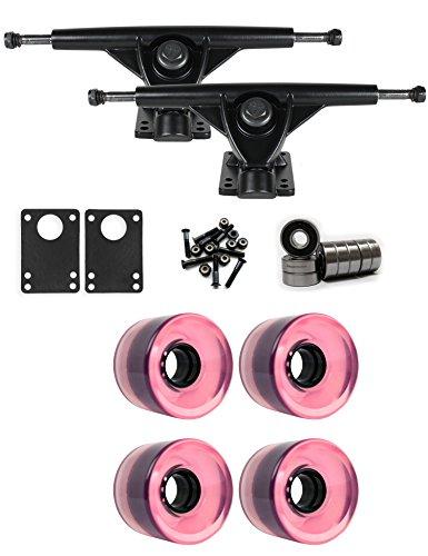 TGM Skateboards RKP Black Longboard Trucks Wheels Package 60mm x 44mm 83A 7424C Pink Clear