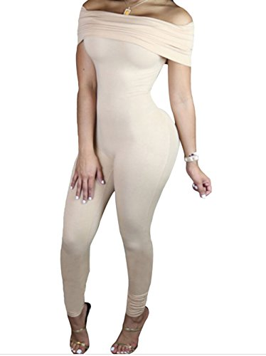 FQHOME Womens Nude Form Fitting Off Shoulder Jumpsuit Size M