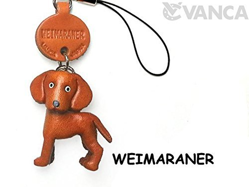 Vanca.com Weimaraner Leather Dog mobile/Cellphone Charm VANCA CRAFT-Collectible Cute Mascot Made in Japan