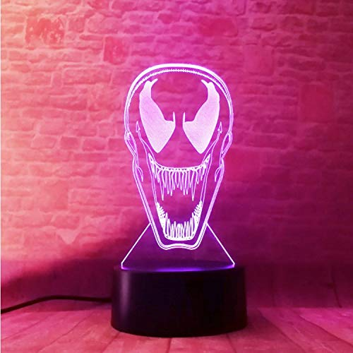 Klsoo Iluminación Nocturna Nuevo Cool Venom Spiderman Figure Mask Mask Mask 3D 7 Color Led Gradient Night Light Kids Sleeping Festival Regalo De Navidad f55868