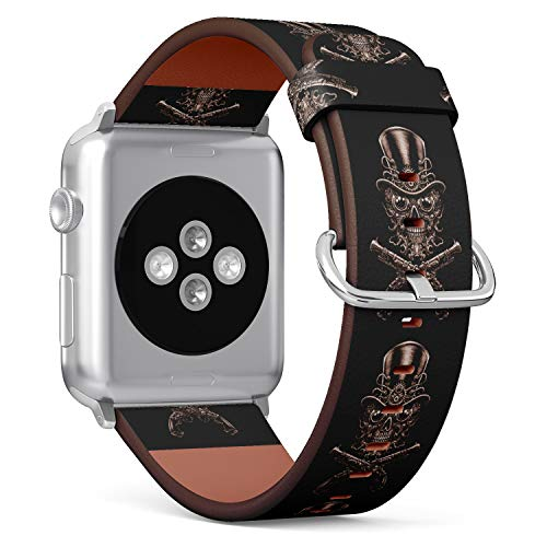 ((Steampunk Skull in hat and Guns) Patterned Leather Wristband Strap for Apple Watch Series 4/3/2/1 gen,Replacement for iWatch 42mm / 44mm Bands)