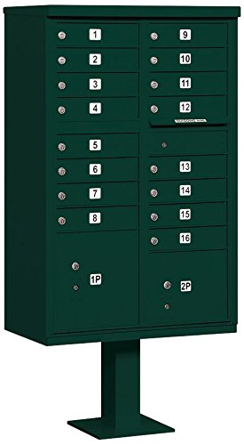 Salsbury Industries 3316GRN-P Cluster Box Unit with Pedestal and Master Locks, 16 A Size Doors, Type III, Green by Salsbury Industries